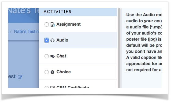 audio activity chosen from activity picker dialogue