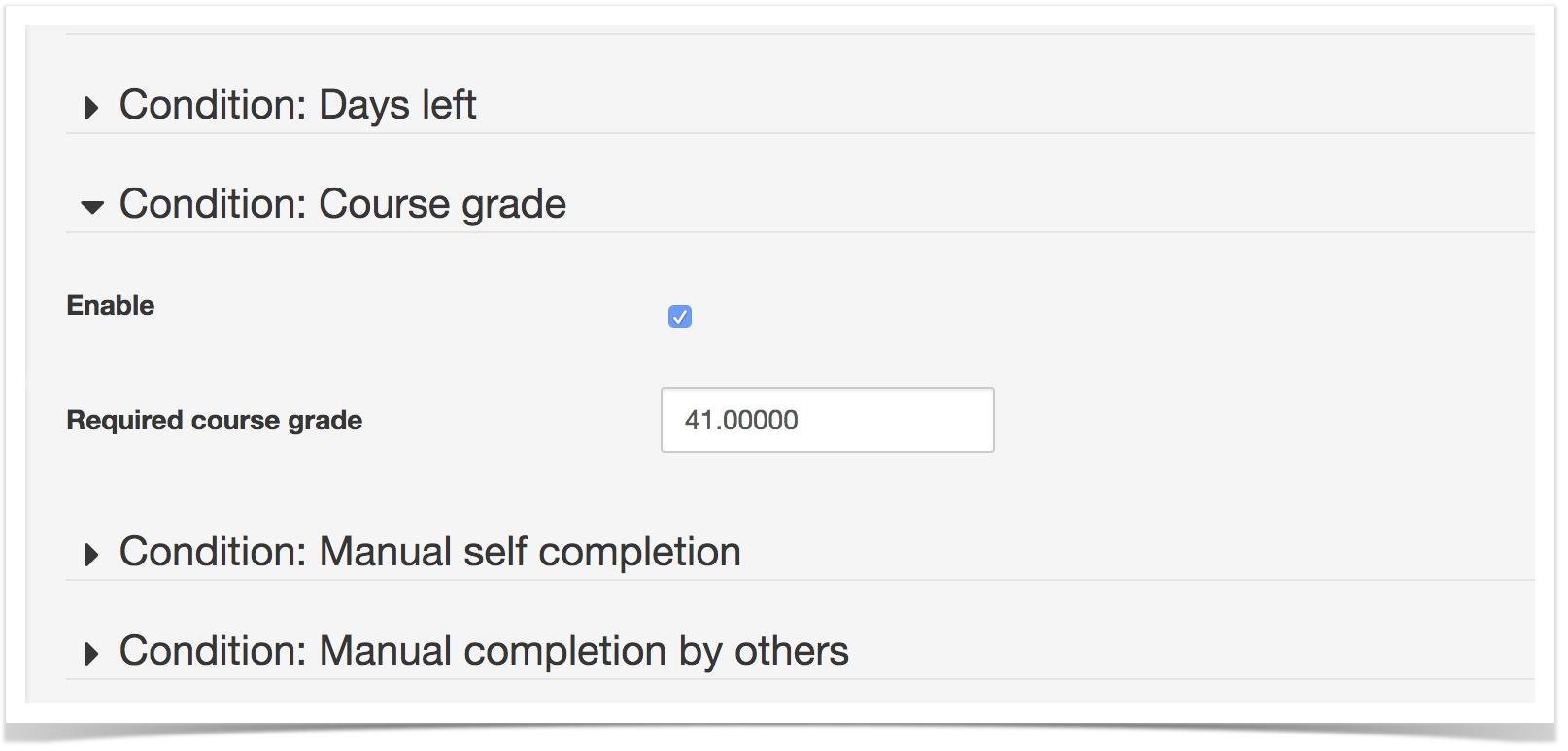 Condition Course Grade