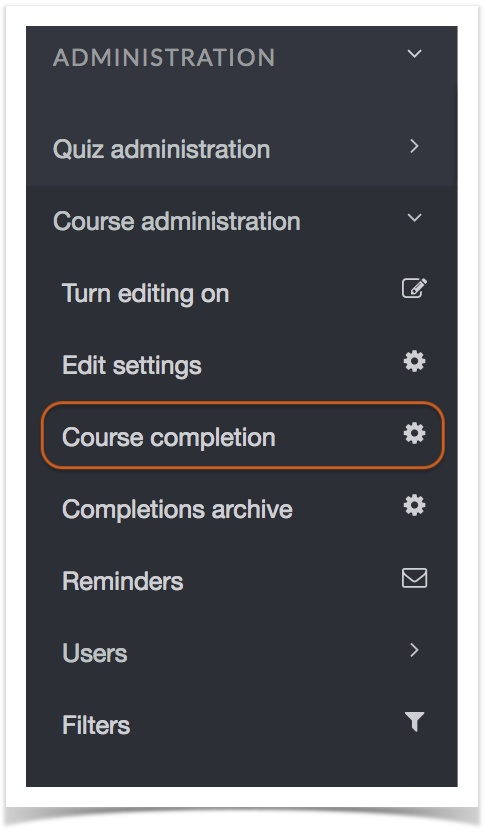 Course Completion circled in Administration panel