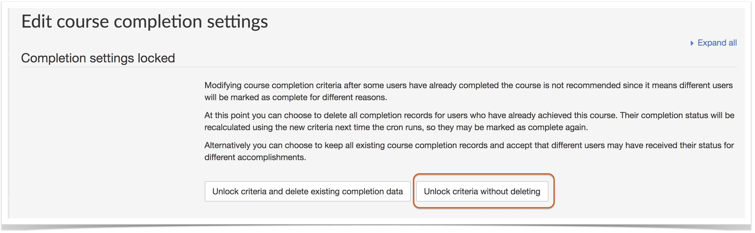 editing course completions with unlock criteria without deleting button circled