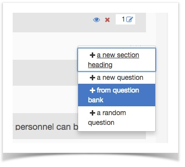 selecting add new question from bank