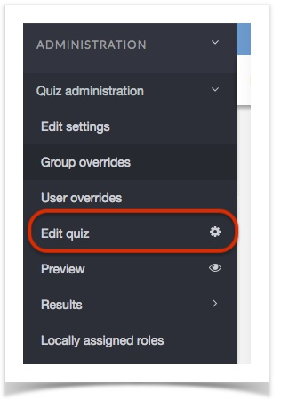 admin panel with edit quiz button circled