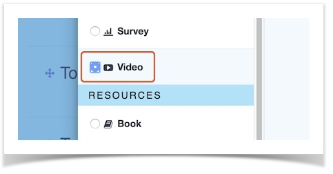 video activity circled in activity selection window
