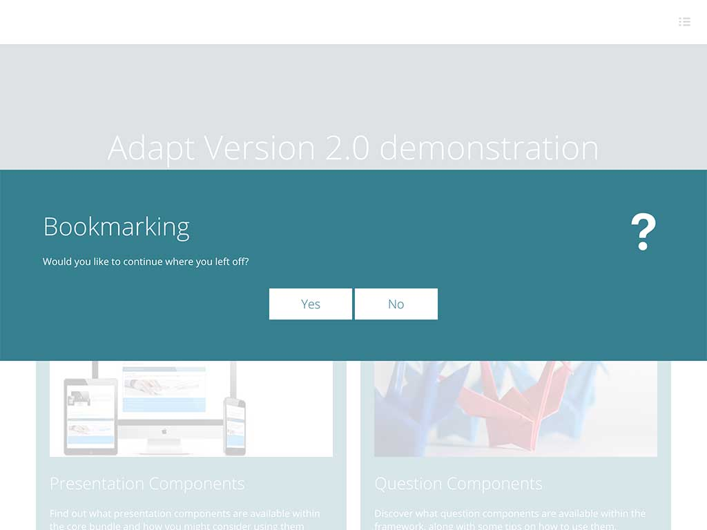 Bookmarking extension dialog from sample course