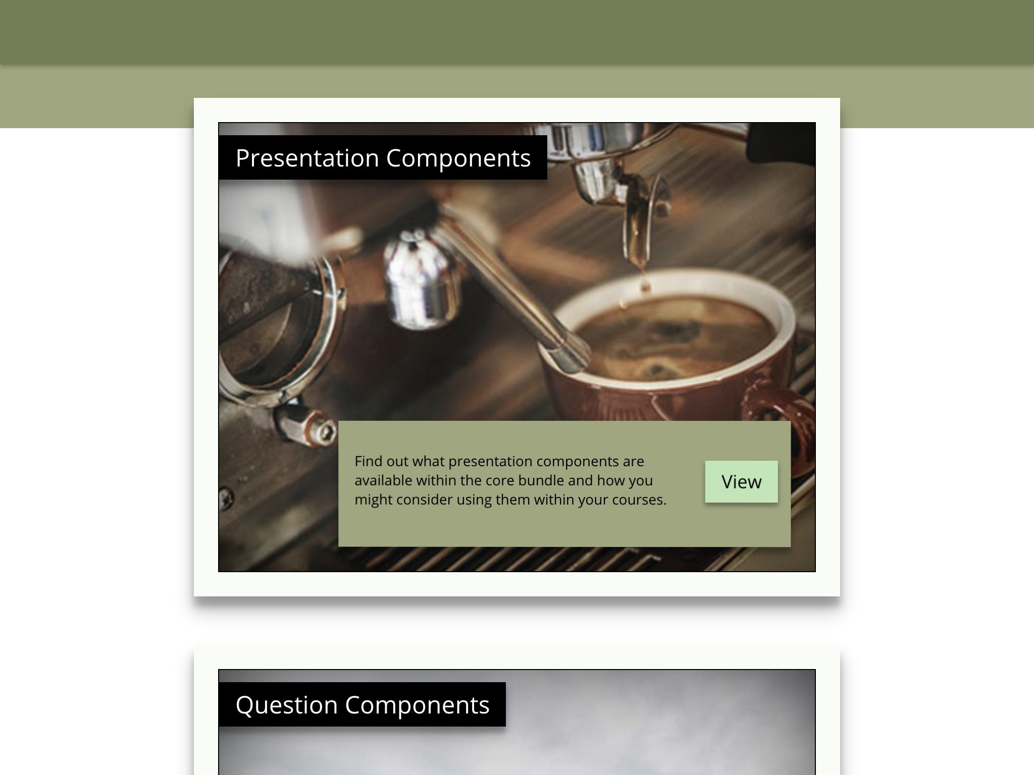 Frame menu example