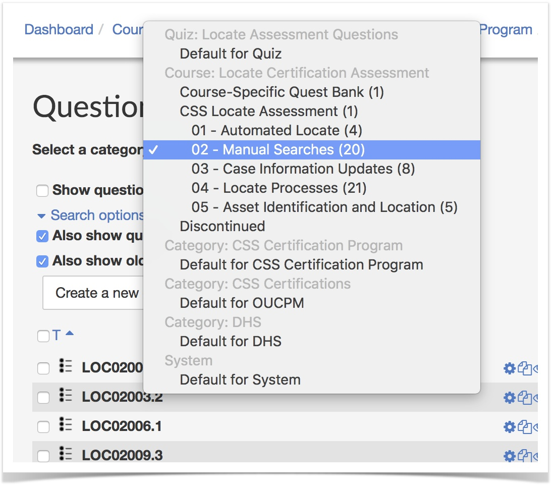 selecting question category from pulldown