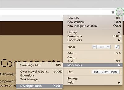 Chrome Tools menu
