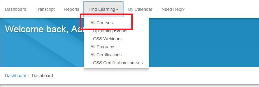 All courses menu option highlighted