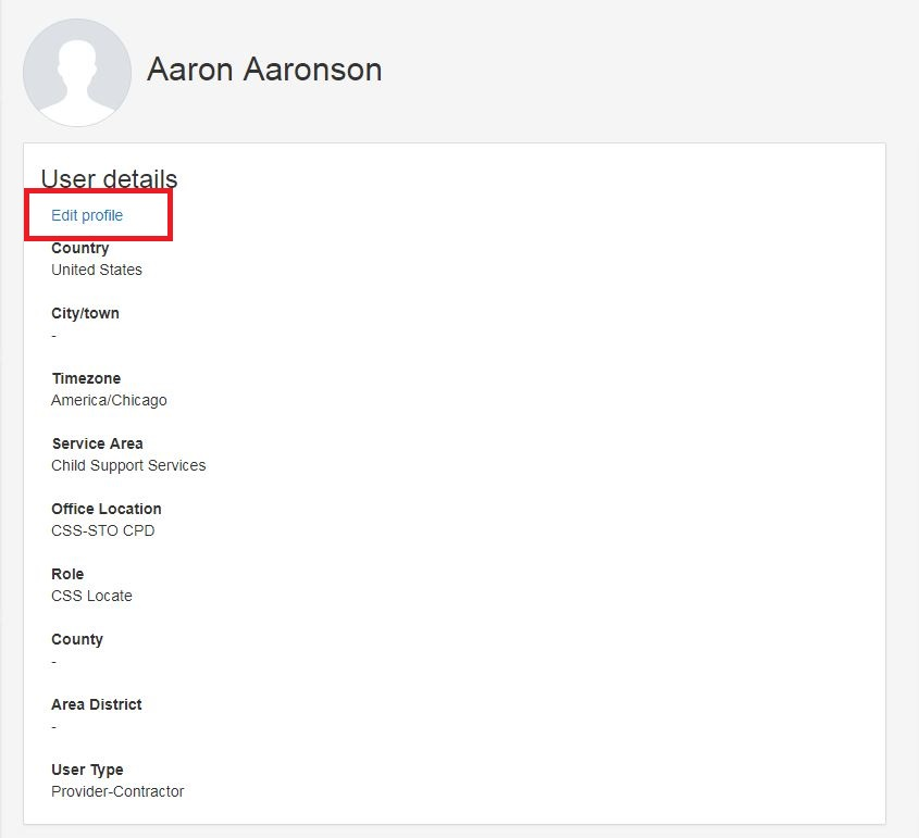 Edit button selected on profile information menu
