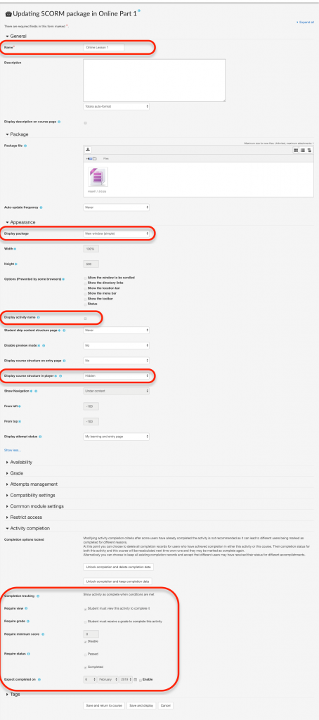 All SCORM settings changed in one image and all changes circled in red