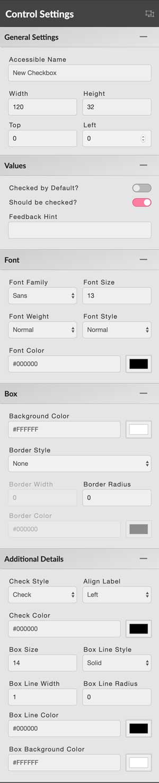checkbox control settings panel