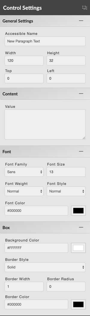 paragraph text control settings panel