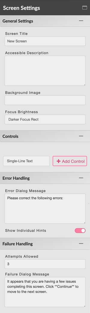 Screen Settings editor tab