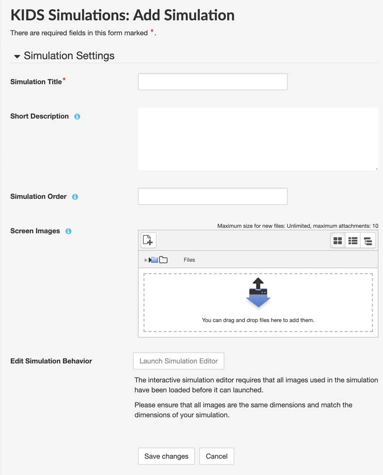 simulation settings form
