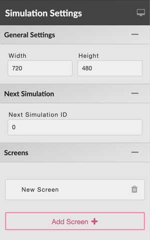 editor panel: simulation settings