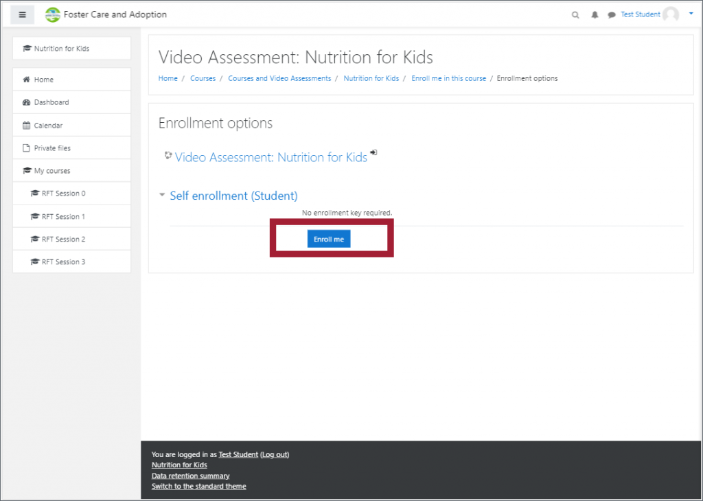 """The self-enrollment screen of a course in the LMS, with the """"Enrol me"""" button highlighted"""