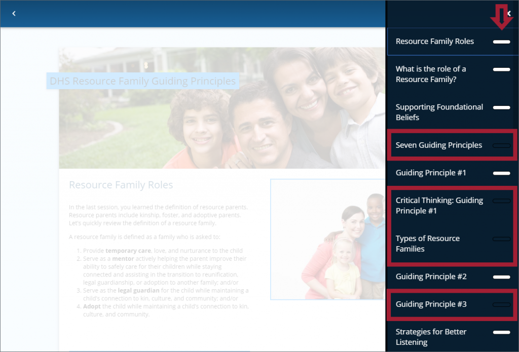 An LMS learning module page, with the topic navigation menu open, with incomplete items highlighted