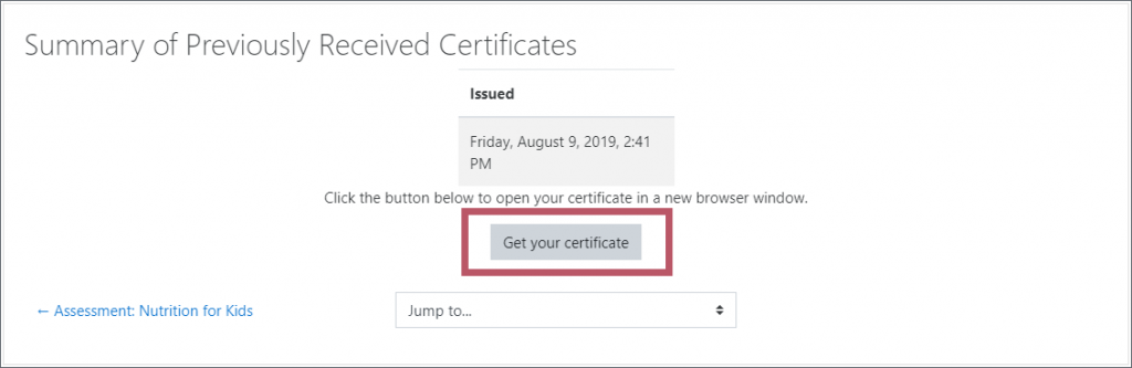 "A Certificate summary block, with the ""Get your certificate"" button highlighted."