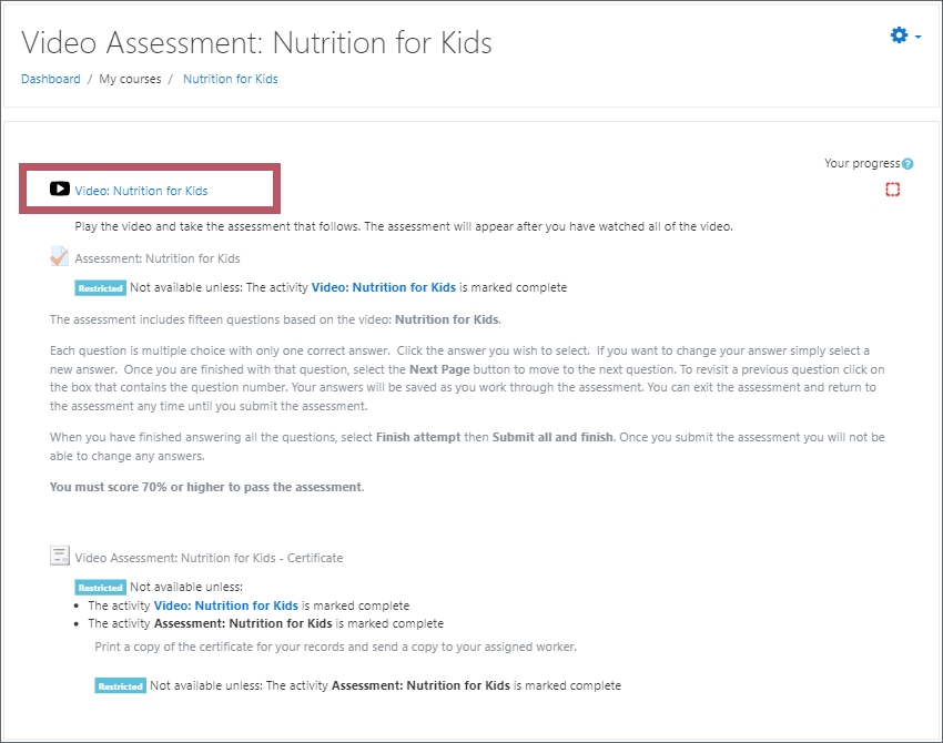 A Video Assessment course page with the Video activity highlighted