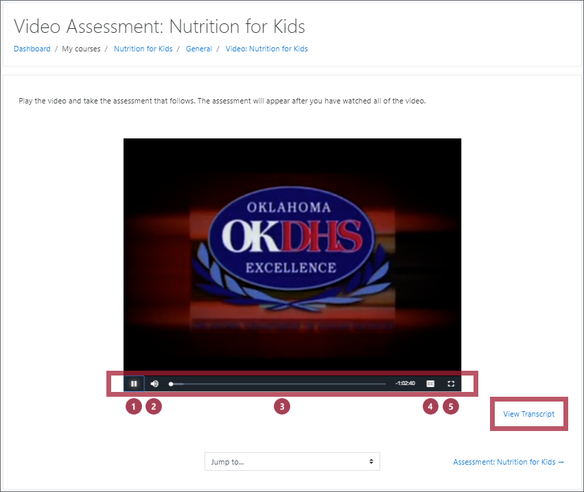 "A Video Assessment video page, with the video playback controls and ""View Transcript"" link highlighted"