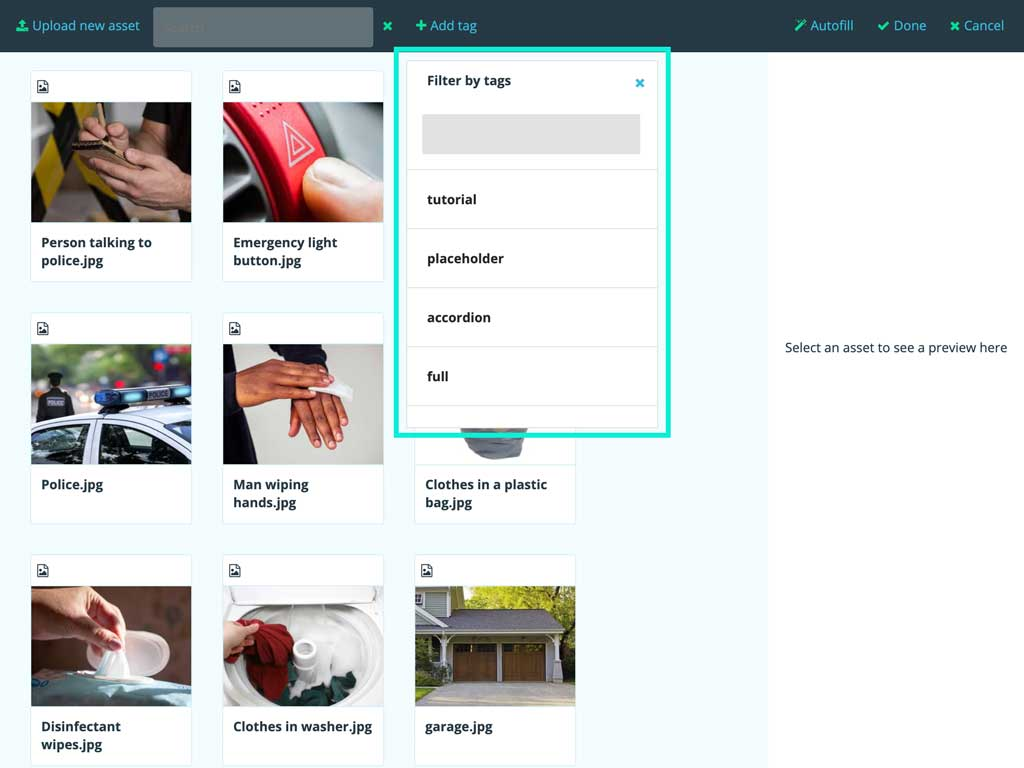 Media library; The filter dialog is highlighted.